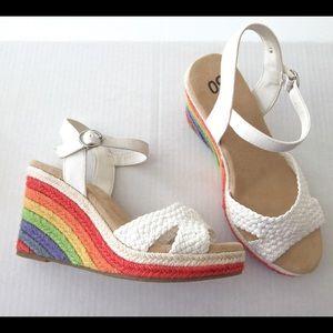 Rainbow Espadrille Wedge Sandals Pride Festival 7